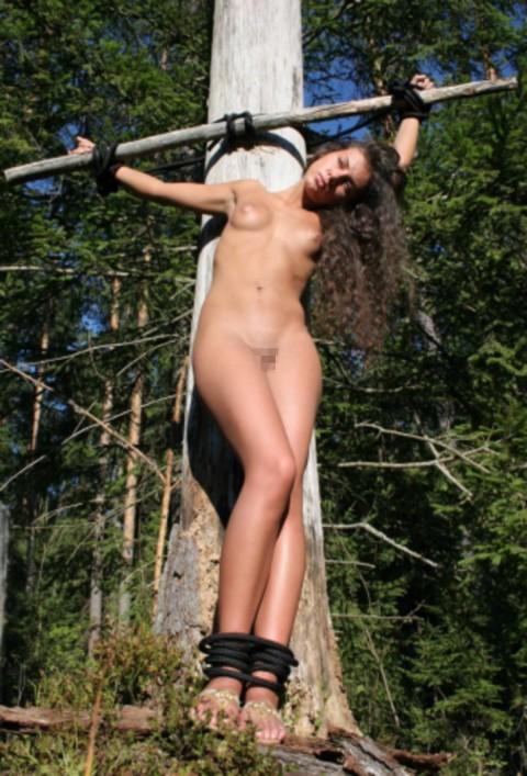 【ドS集合】野外で全裸で磔されてる女の子の画像が意外と多く見つかったので貼ってくwwwwwwwwwww(27枚)・11枚目