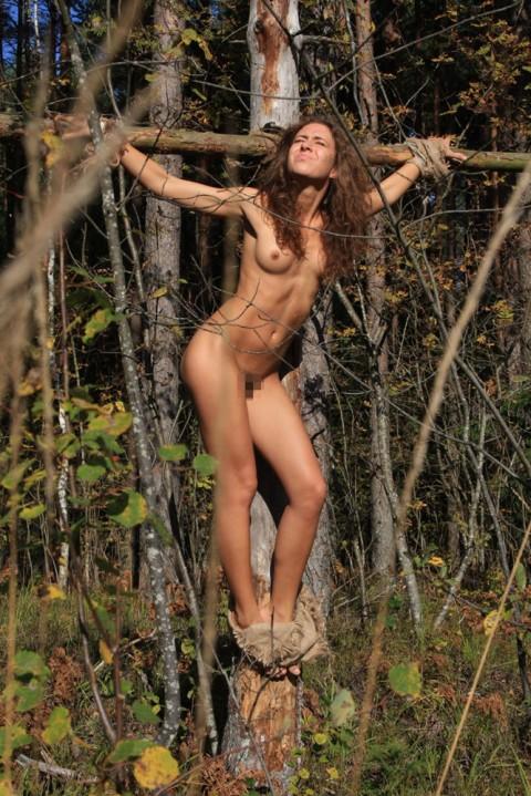 【ドS集合】野外で全裸で磔されてる女の子の画像が意外と多く見つかったので貼ってくwwwwwwwwwww(27枚)・12枚目