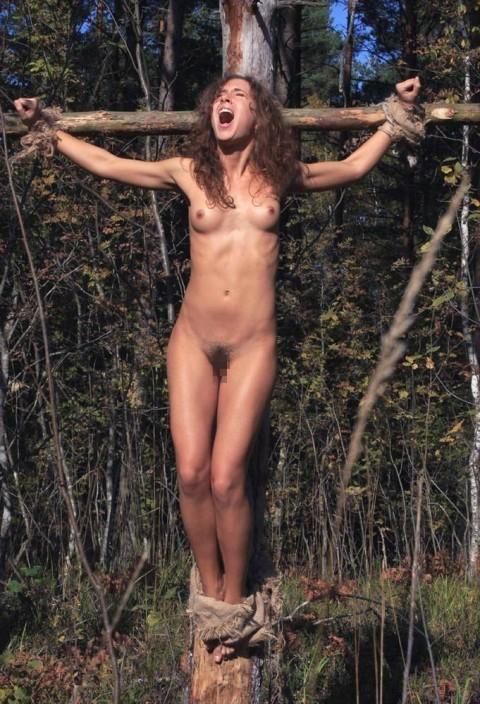 【ドS集合】野外で全裸で磔されてる女の子の画像が意外と多く見つかったので貼ってくwwwwwwwwwww(27枚)・18枚目