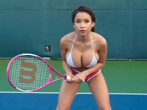 (ムービー)美巨乳がテニスにどれだけ不向きかというのを皆様に伝える為の教材映像。