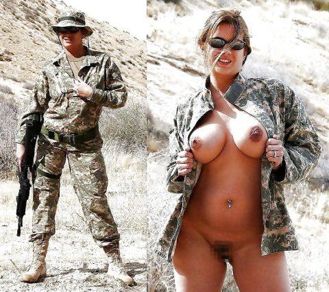 欲求不満な女兵士の軍服とヌードのコラボ画像集(29枚)・1枚目