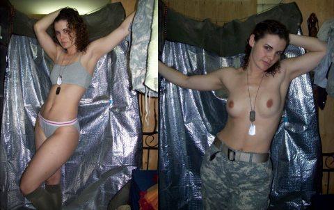 欲求不満な女兵士の軍服とヌードのコラボ画像集(29枚)・15枚目