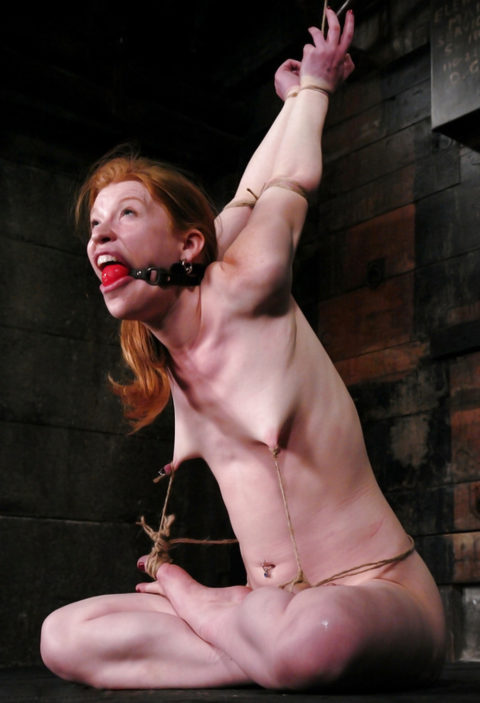 これマジで痛いだろ・・・乳首を虐めてる調教中の画像集(30枚)・13枚目