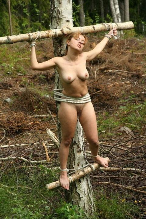 全裸女がガチで野外で磔にされてるどうかしてるエロ画像集(29枚)・21枚目