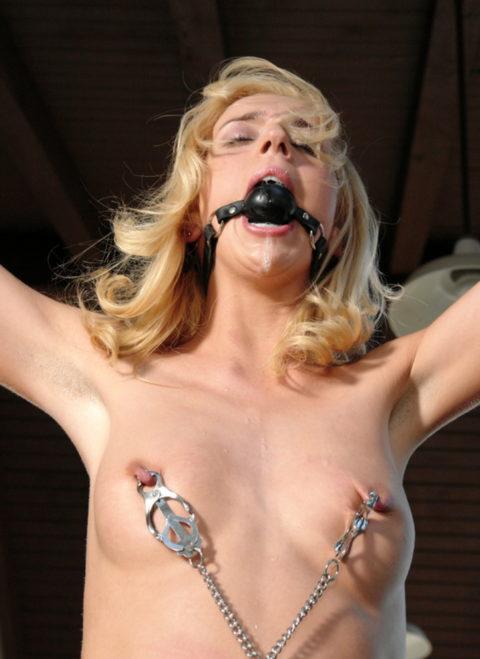 これマジで痛いだろ・・・乳首を虐めてる調教中の画像集(30枚)・25枚目