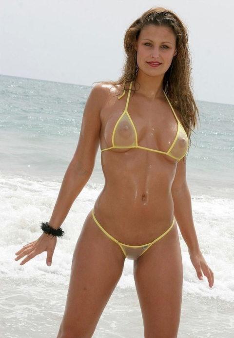 シースルーのマイクロビキニという最強の水着がこちら。ほぼ全裸やろwwww・2枚目