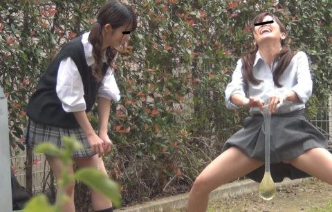【画像】学校帰りのJKさん、草むらで野外放尿して撮影される。。・16枚目