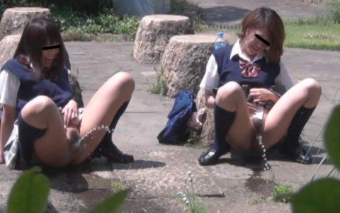 【画像】学校帰りのJKさん、草むらで野外放尿して撮影される。。・4枚目
