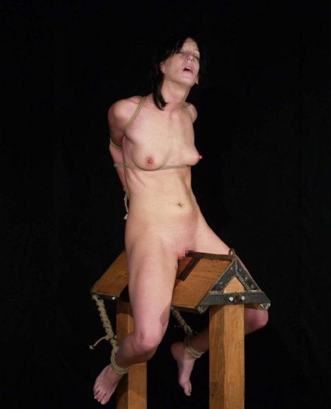 【調教】三角木馬で本気の拷問されてる女さんをご覧ください…これは痛すぎる(画像あり)・17枚目