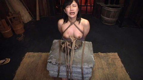 【調教】「石抱き拷問」とかいうプレイ、これ興奮する奴いるの?wwwwww(画像あり)・20枚目