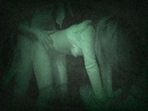 【エロ画像】夜の「青姦スポット」に赤外線カメラを仕込んだ結果wwwwwwww・1枚目