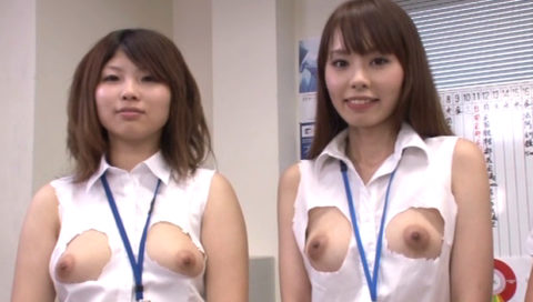 【エロ画像】スーパークールビズっていうおっぱい丸出しの制服ヤバいwwwwww・15枚目