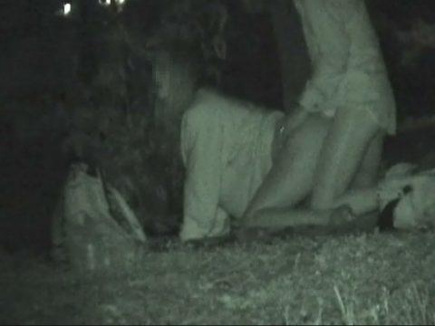 【エロ画像】夜の「青姦スポット」に赤外線カメラを仕込んだ結果wwwwwwww・21枚目