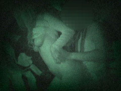 【エロ画像】夜の「青姦スポット」に赤外線カメラを仕込んだ結果wwwwwwww・23枚目