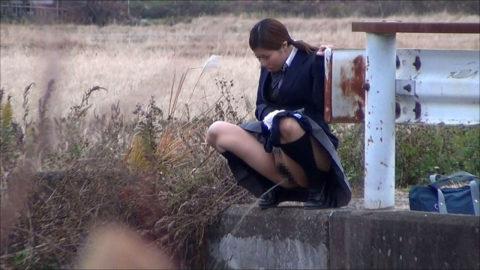 【エロ画像】羞恥心が無くなったJKさんお外で放尿して撮影されるwwwwww・14枚目