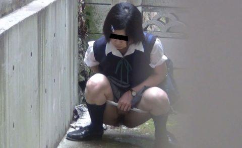 【エロ画像】羞恥心が無くなったJKさんお外で放尿して撮影されるwwwwww・28枚目