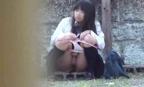 【エロ画像】羞恥心が無くなったJKさんお外で放尿して撮影されるwwwwww・4枚目