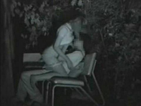 【エロ画像】夜の「青姦スポット」に赤外線カメラを仕込んだ結果wwwwwwww・8枚目
