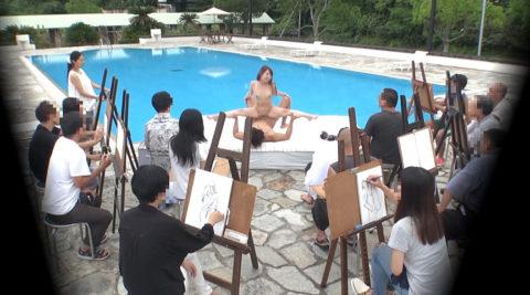 【エロ画像】ヌードデッサンのモデル女さん、過酷な状況びビビるwwwwww・18枚目
