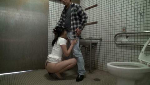 【エロ画像】最近流行りの「多目的トイレ」でヤッてる人たちwwwwww・19枚目