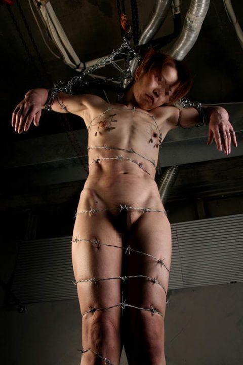 【究極調教】有刺鉄線やホッチキスで固定された女たち・・・・・12枚目